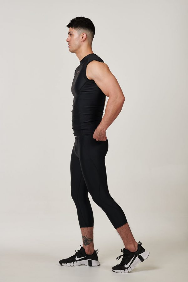 Mens 3 Quarter Black with Red Compression Tights