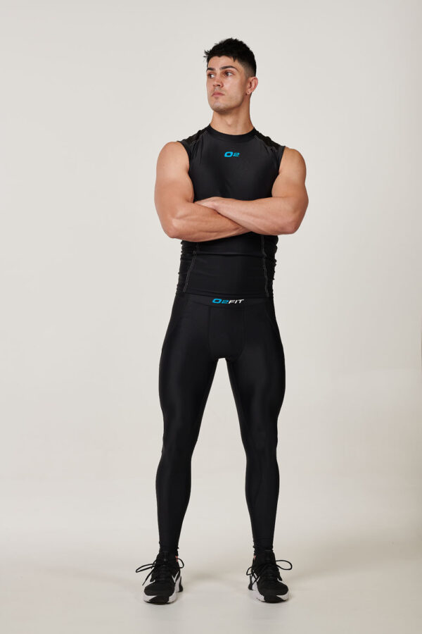 Mens Black with White Compression Singlet $29.99