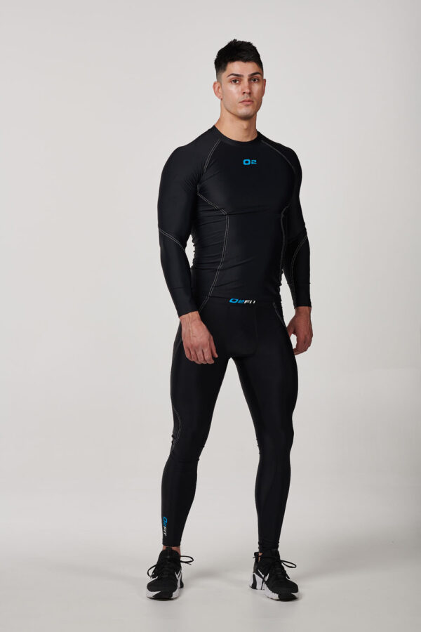 Mens Black with White Long Sleeve Compression Top – $39.99