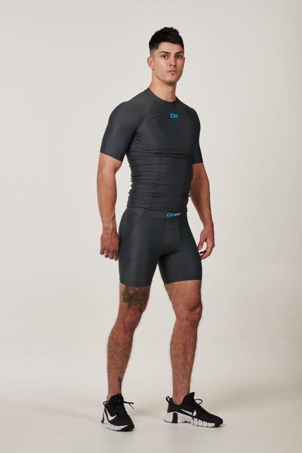 Mens Grey Short Sleeve Compression Top $34.99
