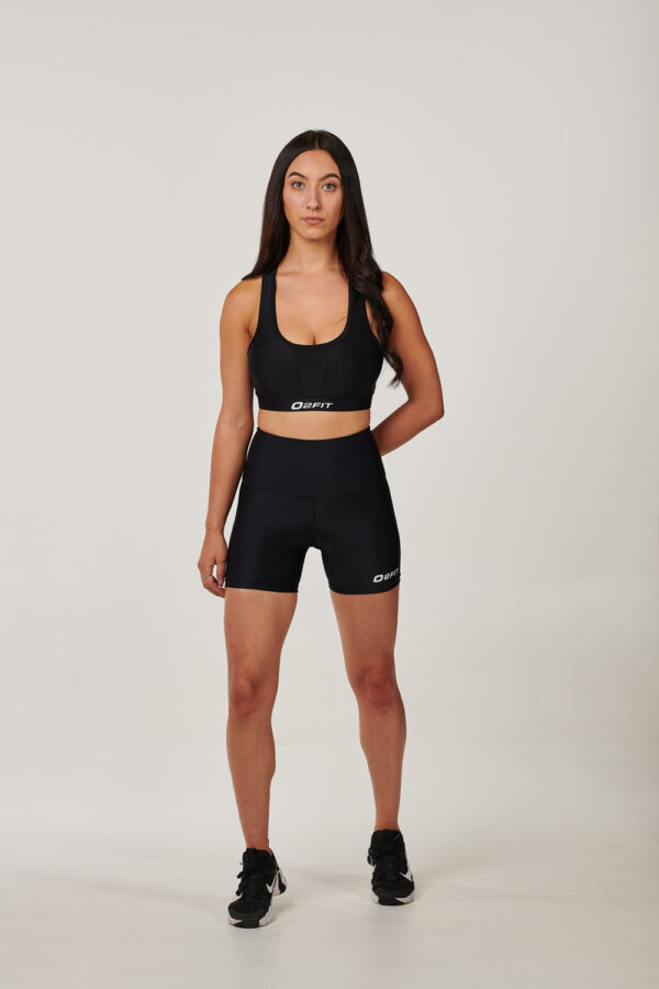 Womens Black High Waisted Compression 5 Shorts $45.99
