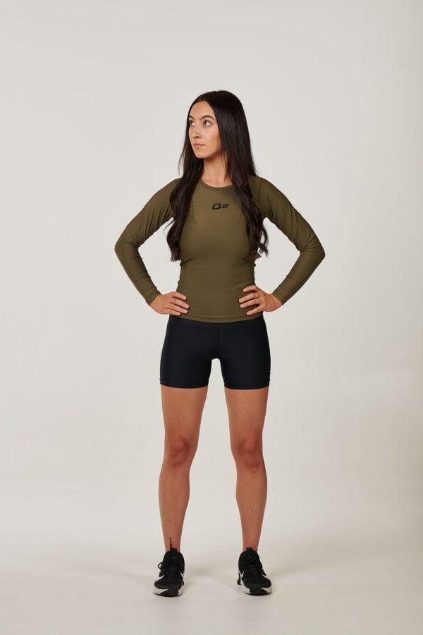 Womens Black with Green High Waist Compression Shorts $45.99.jpg (1)