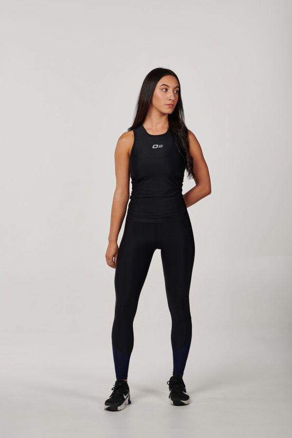 Womens High Waist Black with Navy Mesh Compression Tights
