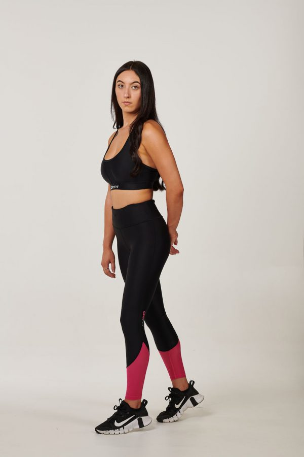 Womens High Waist Black with Pink Mesh Tights $49.99