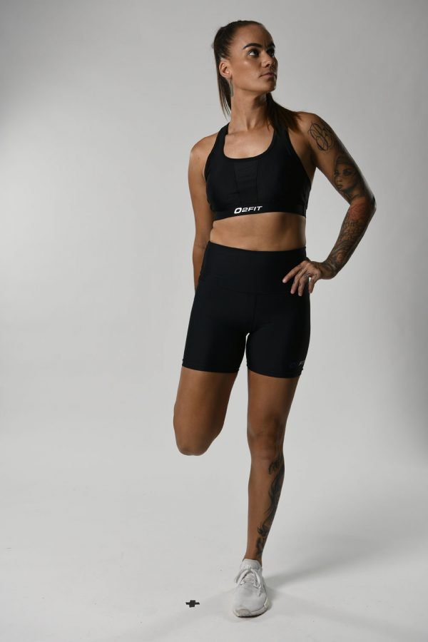 Womens High Waist Black with Purple Compression 5 Shorts $45.99 (1)