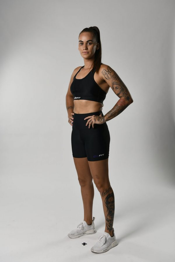 Womens High Waist Black with Purple Compression 5 Shorts $45.99