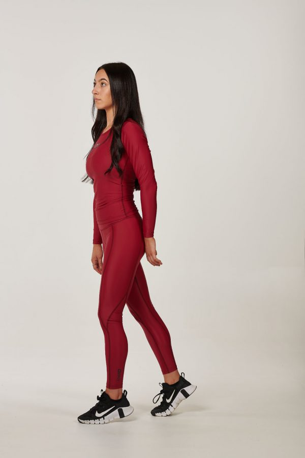 Womens Maroon High Waist Compression Tights $49.99