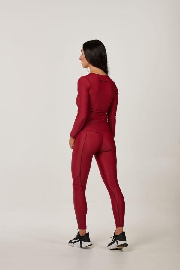 Womens Maroon Long Sleeve Compression Top $34.99.jpg (1)